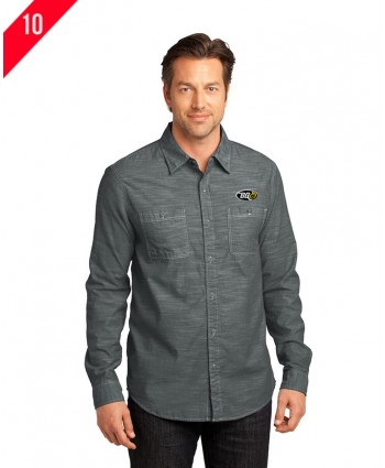 District Made Men's Long Sleeve Washed Woven Shirt